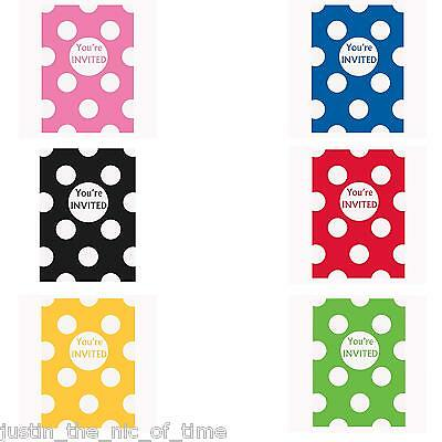Polka Dots Spots Spotty Kids Birthday Summer Party Invites Invitations x 8