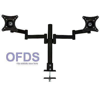 Dual HD LED monitor stand 2 arm two LCD screen TV desk mount bracket screw base