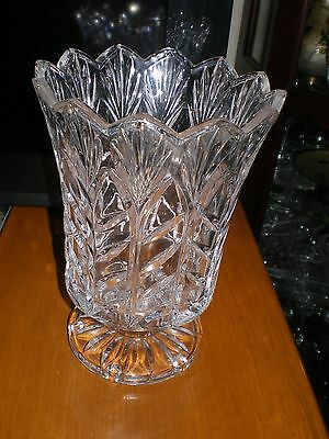 VASE   CUT GLASS  5 X 5 IN BOWL DEPTH 5  7 IN TALL