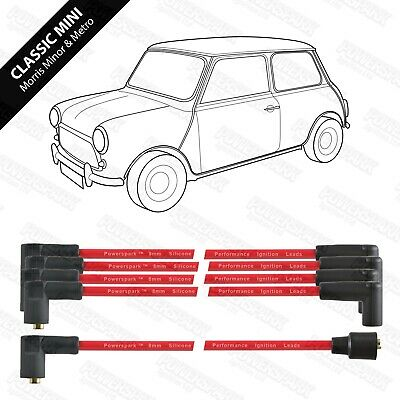 Classic Mini Metro Austin Morris Rover Reliant 10mm Performance HT leads in Red