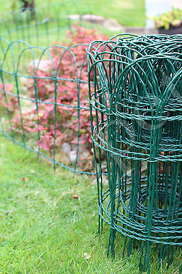 Garden Border Lawn Edging 10m x 25cm,40cm or 65cm PVC Coated Green Wire Fencing