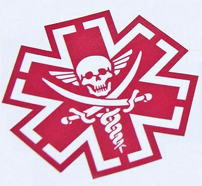 Pirate Medic Tactical Emt Morale Military Car Vehicle Window Decal Sticker - Red