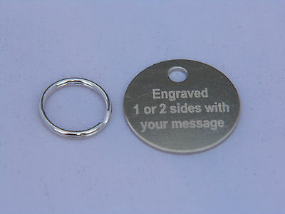 25mm ENGRAVED PET TAGS ID DISC TAG CAT DOG METAL SILVER NICKEL + SPLIT RING