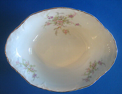 "Oval Serving Bowl 9.5"" WS George Radisson Pink Lavender Flowers Gold Antique"