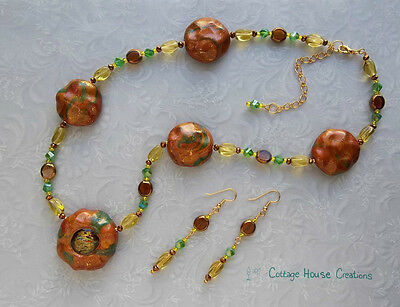 ~ Amber Coins ~  Artisan Bead Necklace Kit with Instructions and Dangle Earrings