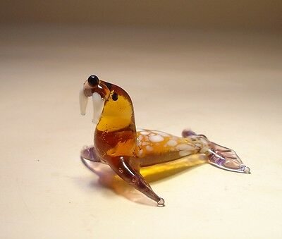 "Blown Glass Figurine ""Murano"" Art Animal Small Ocean Creature WALRUS"