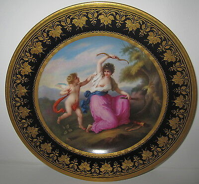 ROYAL VIENNA CABINET PLATE C.1880 GIRL AND CUPID