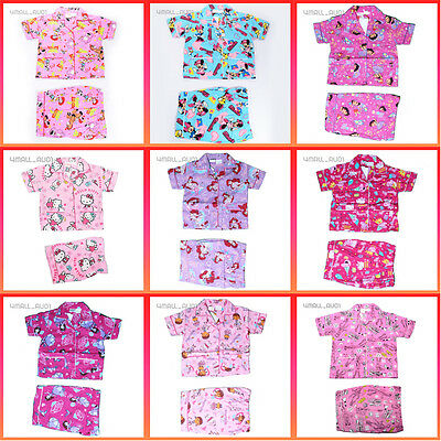 Kids Girls Boys Cotton Summer Short Sleeve Nighty Pyjamas PJ Sleepwear Set Sz