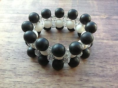 """3-Strand """"Crystal"""" Bracelet with Black & White Wooden Beads Fair Trade Jewellery"""