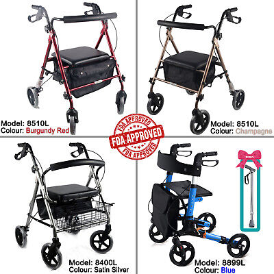 Aluminum Foldable Rollator Walking Frame Outdoor Walker Aids Mobility