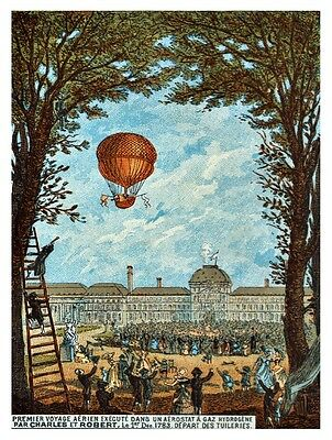 9599.Hot air balloon.people cheering in park.POSTER.decor Home Office art