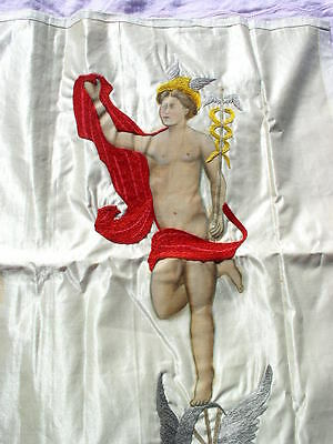 Antique Silk Embroidery & Hand Painted Greek God Hermes w Caduceus Wall Hanging