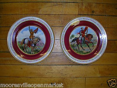 M Z Austria Porcelain Warrior horse Plates- Set of 2 Kaiserin Maria Theresia