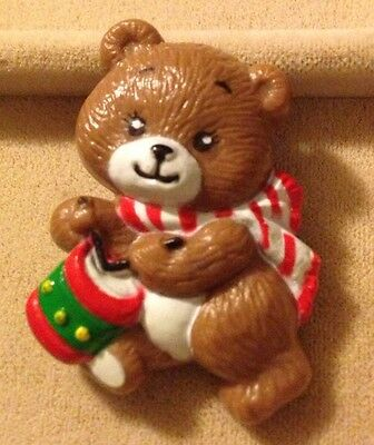 Vintage Teddy Bear Christmas Pin Playing Drum Marked Russ