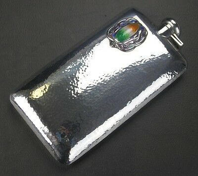 ANTIQUE LARGE HAND HAMMERED STERLING SILVER   ENAMEL FLASK 330 GRAMS 10,6 tr.oz