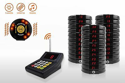 30 Digital Restaurant Coaster Pager / Guest Wireless Paging Queuing System POS