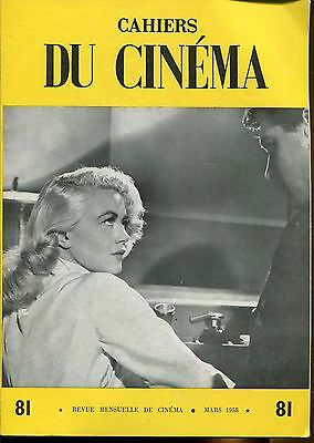 CAHIERS DU CINEMA N°81 de 1958..MAX OPHULS..RETROSPECTIVE TRAVELLING MAX OPHULS