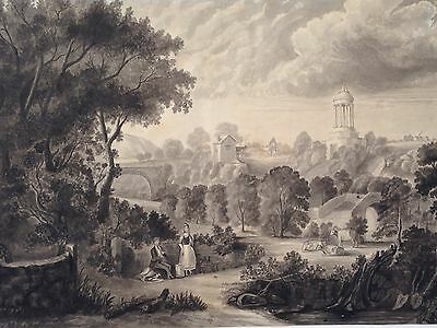 Gorgeous 19Th Century Ink And Watercolor Italian Landscape With Bridge Unsigned
