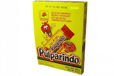 DE LA ROSA PULPARINDO 20ct , Hot and Salted Tamarind Pulp Candy, Mexican Candy