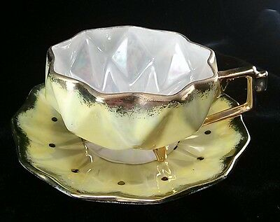 Vintage Royal Sealy Japan Iridescent Diamond Faceted Footed Cup & Saucer Yellow