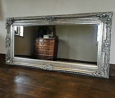 Antique Silver Grey Vintage Large Over mantle French Statement Wall Mirror 5ft