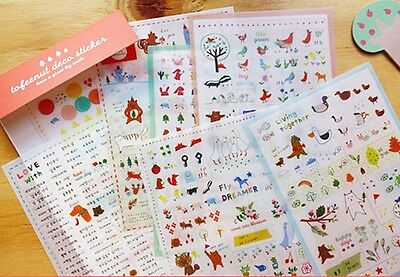 Cute Tofeenut Deco PVC Stickers Set For Diary Scrap-booking & DIY -7 Sheets
