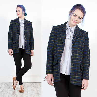 Womens Vintage 80's Blue Check Plaid Oversize Casual Wool Blend Blazer Jacket 12