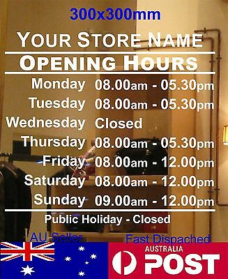 OPENING TRADING HOURS shope sign Business custom text Vinyl sticker 30x30cm