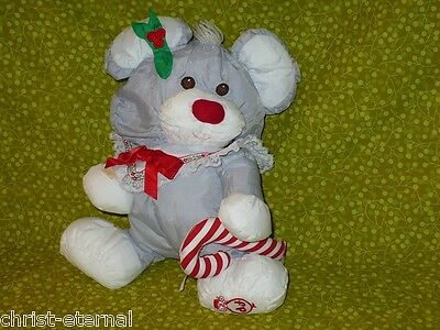 "PUFFALUMPS Fisher Price CHRISTMAS MOUSE Stuffed Animal Vintage Lovey 11"" 1987"