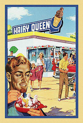 """""""HAIRY QUEEN"""" GAY INTEREST POSTCARD Signed- L Fulton"""