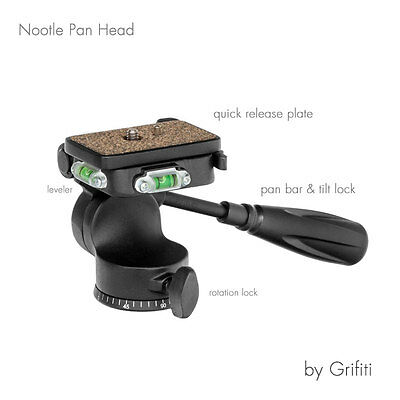 Grifiti Nootle Video Pan Head for Cameras, Tripod, Stands, and Mounts