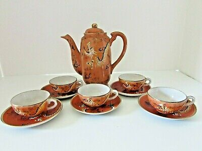 "Mini Japan ""Betson"" Moriage Dragonware Hand Painted Tea Pot W/5 Cups & Saucers"