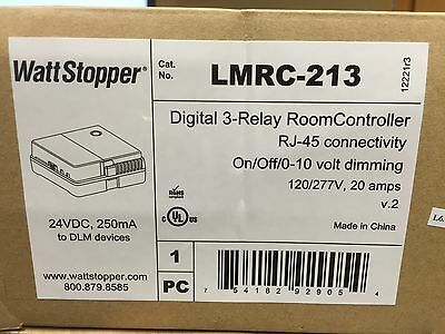 Watt Stopper Lmrc-213 120/277Vac 24Vdc 20A Digital 3 Relay Room Controller Nib!