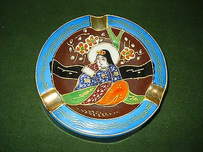 ***1950's MADE IN JAPAN ASHTRAY BEAUTIFULLY DECORATED, ASIAN ART, NICE SHAPE****
