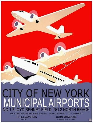 9621.City of New York.Municipal airports.airplanes.POSTER.decor Home Office art
