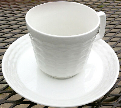 MYOTT THARAUD BASKETWEAVE Ceramite CUPS & SAUCERS (4 Sets) . ENGLAND