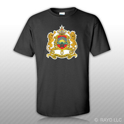 Moroccan Coat of Arms T-Shirt Tee Shirt Free Sticker Morocco flag MAR MA