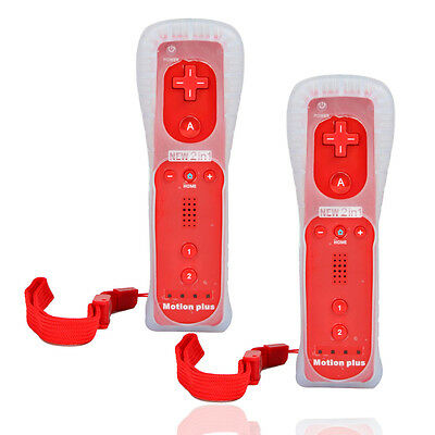 2X Wiimote Built in Motion Plus Remote Controller + Case for Nintendo Wii Red
