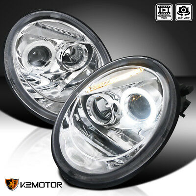 For 1998-2005 VW Volkswagen Beetle Halo Projector Headlights Pair Left+Right