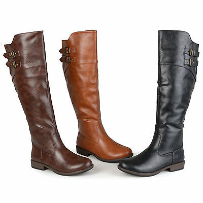 Journee Collection Womens Wide And Extra-Wide Calf Buckle Detail Riding Boots