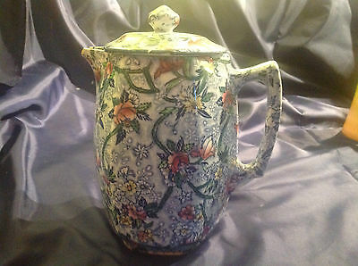 Vintage Maling Lidded Tall Jug Manufactured for Ringtons  Chintz Pattern