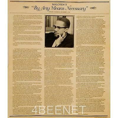 """MALCOLM X """"BY ANY MEANS NECESSARY"""" parchment poster CIVIL RIGHTS LEADER SPEECH"""