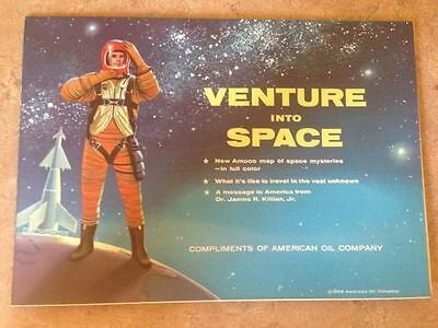 Amoco 1958 Venture Into Space-Map of Space Mysteries In Full Color