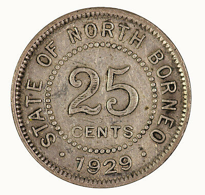 British North Borneo 1929 H 25 Cent Coin gVF KEY DATE