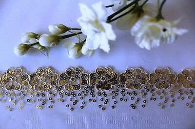 1m gold flower sequin lace trim ballet costume tutu net dance craft sewing