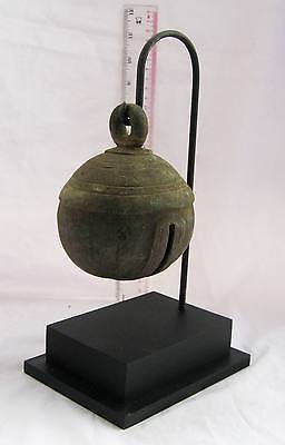 LARGE SIZE Old Karen Hill Tribe Bronze Round Elephant Bell & Stand 750g