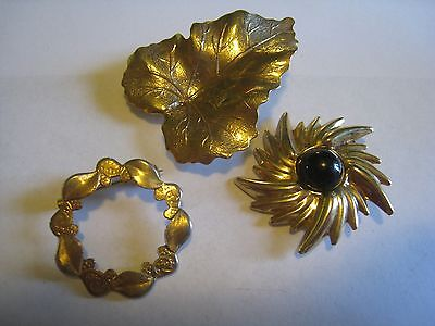Gold Tone Brooches & Leaf Design Dress, Scarf Clip, Unmarked
