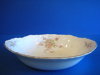 Oval Serving Bowl WS George Radisson Pink Lavender Flowers Gold Antique