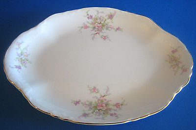 Medium Oval Platter 13.75 WS George Radisson Pink Lavender Flowers Gold Antique