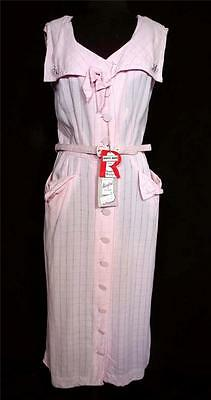 Very Rare Vintage Deadstock With Tags  1950's Pink Rayon Gabardine Dress Size 8+